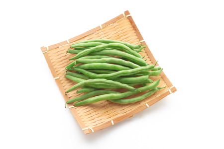 high angles: Green beans in the basket Stock Photo