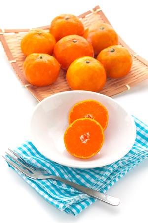 mandarin orange: frozen mandarin orange Stock Photo