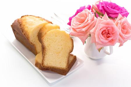 pound cake: Slices of pound cake on a white dish. Stock Photo