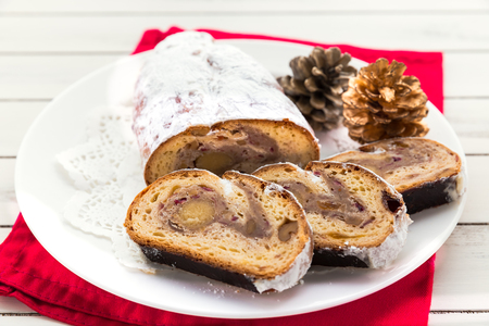 Cranberry almond stollen, a traditional German Christmas fruit cake Stock Photo