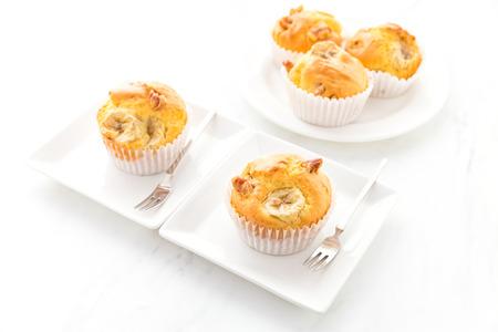 banana bread: Banana Nuts Muffins Stock Photo