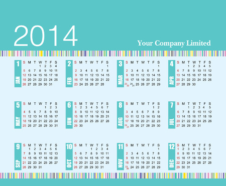 2014 calendar add your company name