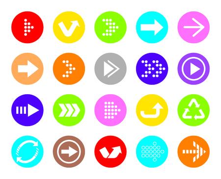 Color Arrow sign vector icon set  Simple circle shape internet