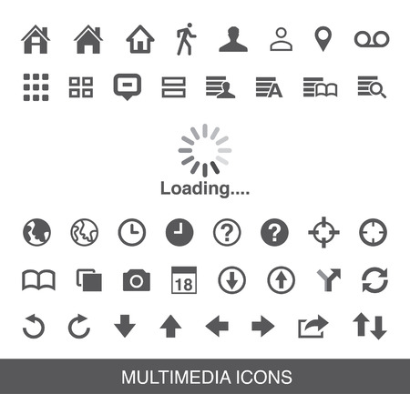 Moblie Smart Phone loading Multimedia Icon Illustration