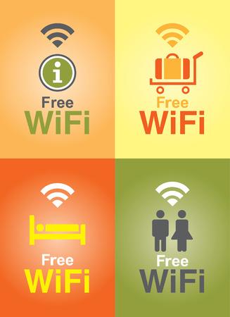 Public Free Wi-fi in Hotel  Illustration