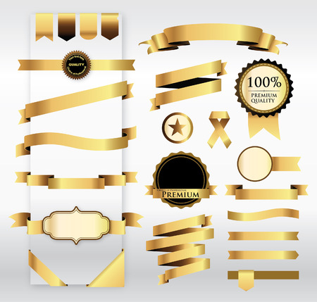 Gold Ribbon with Tag  Ilustracja