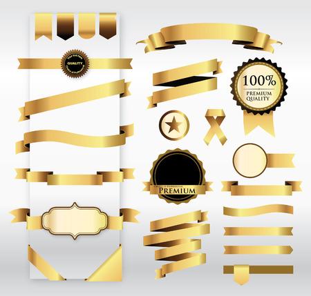 Gouden lint met Tag Stock Illustratie
