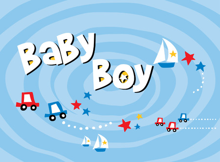 Car with boat baby boy scrapbook pattern paper Illustration
