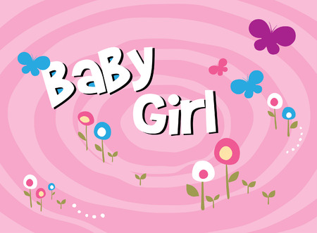 flower baby girl scrapbook pattern paper  Vector