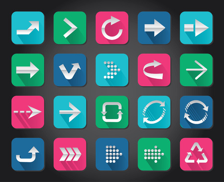 Colorful Arrow sign vector icon set button   Vector