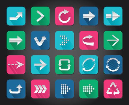 Colorful Arrow sign vector icon set button