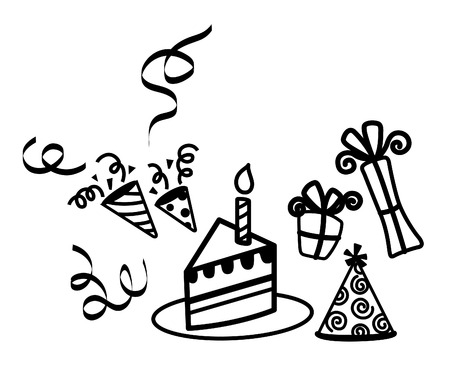 Birthday Candle Cake, Hat, Gift Party Vector