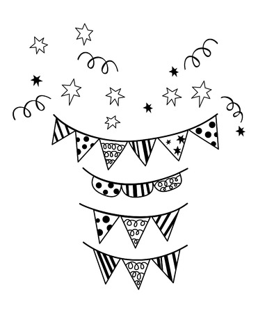 Birthday flag Party silhouette Vector