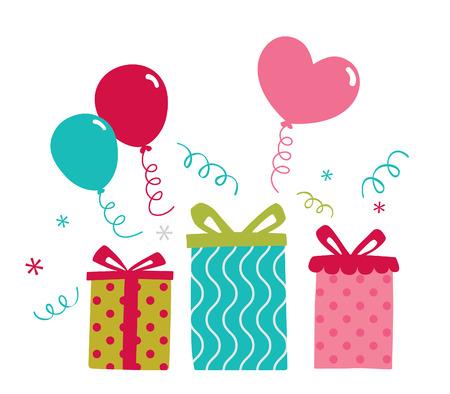 Birthday Gift Balloon Party Vector