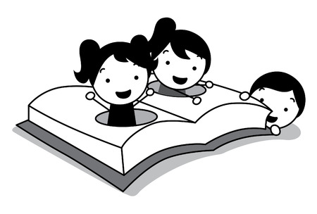 children play, read and hide at opening book