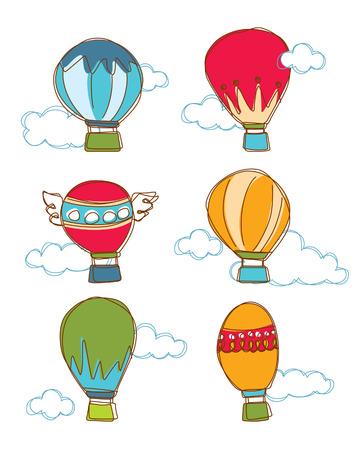 Colorful Hot Air Balloon   Cloud Vector