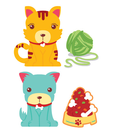 Cute Cat and Dog Vector