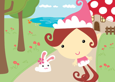 Elf Sister with rabbit  Vector
