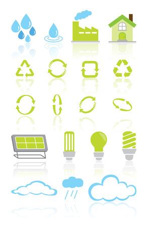 green recycle environment icon set Stock Vector - 26837850