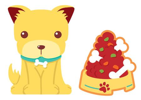 puppy with bone food vector