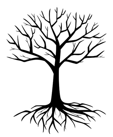 withered branch tree silhouette vector