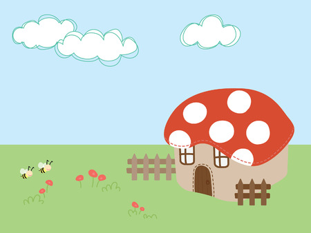 bee flying on grass with mushroom house vector illustration  Vector