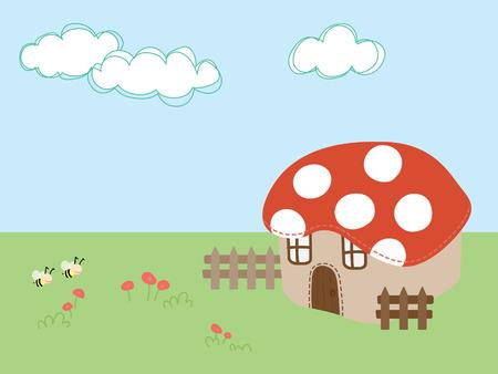 bee flying on grass with mushroom house vector illustration  Illustration