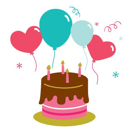 Birthday Cake Balloon Party Vector