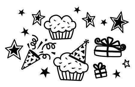 Birthday CupCake, Star, Gift Vector  Illustration