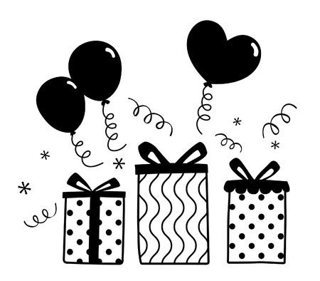 Birthday Gift Balloon Party silhouette Vector