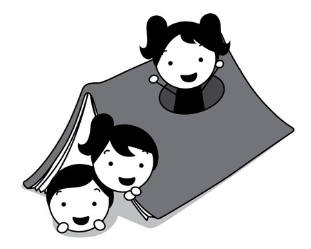 chums: children play and hide at house shape book
