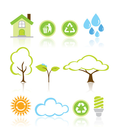 Collection Eco Design Elements Isolated Vector Illustration Illustration