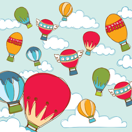 Colorful Balloon and Cloud Vector