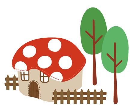 fairy mushroom house vector illustration