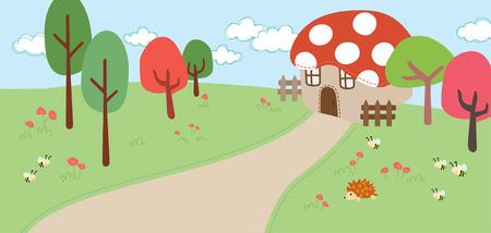 elf red mushroom house Vector