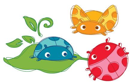 Family Cute bug Vector  Illustration