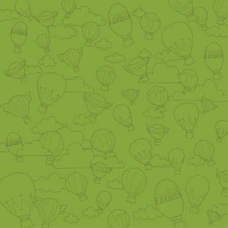 Hot Air Balloon Pattern Background Vector