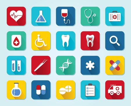 Set medical 3D icons, flat UI design trend, vector illustration of web design elements