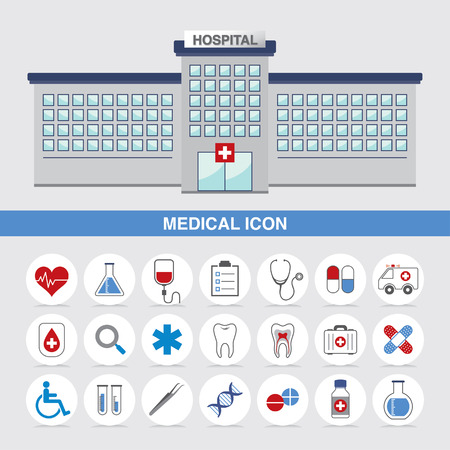 Medical icon and hospital web vector  Illustration