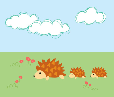 porcupine mother with her children running on grass illustration  Vector