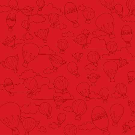 red Hot Air Balloon Pattern Background Vector