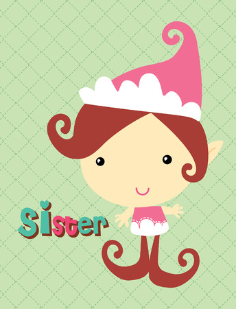 Sister elf at green background  Vector