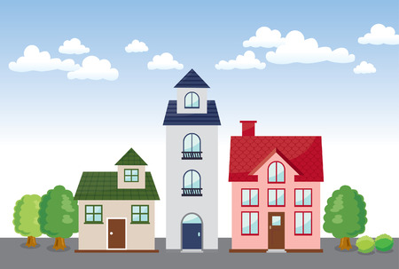 three building in the Town  Illustration