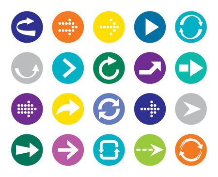 Color Arrow sign vector icon set  Simple circle shape internet button
