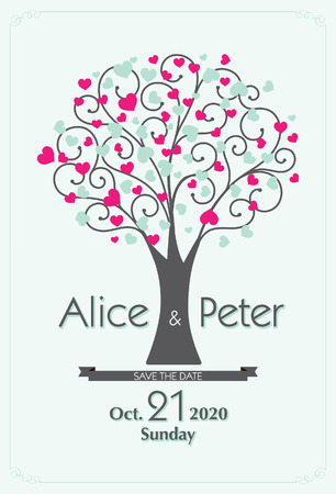wedding couple: Heart Wedding Tree invitation, Save The date
