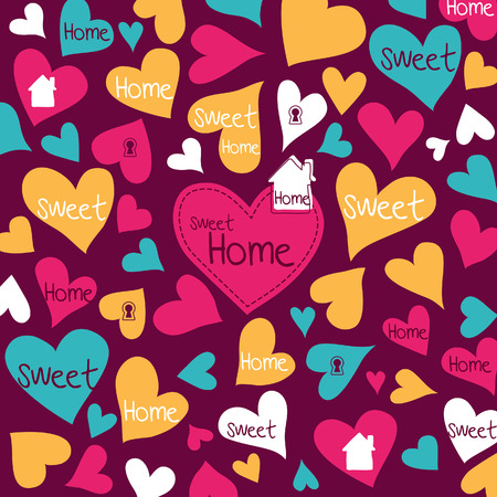 Home Sweet Home Heart pattern scrapbook paper  Vector