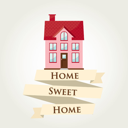 Home sweet home with ribbon sign  Vector illustration  Illustration