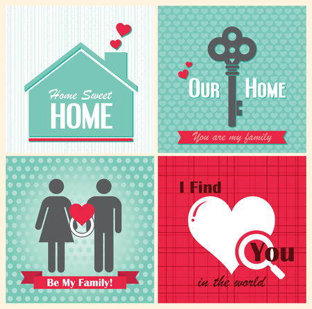 Valentine Day day cards vintage retro type font