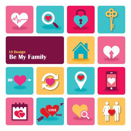 Love Sweet Home Flat UI design trend set icons, vector illustration