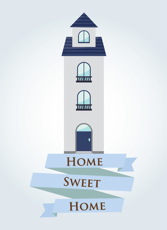 blue Home sweet home with ribbon sign  Vector illustration  Illustration